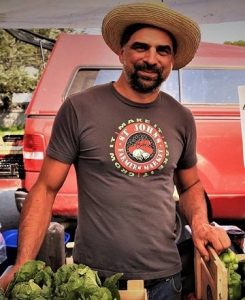 SF photo Brian Kowalski at market straw hat garden hero